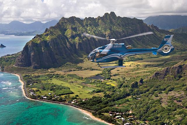 夏威夷蓝色直升机生态之星檀岛景集【蓝色直升机巴士接送+45 分钟】